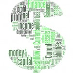 Dollar sign with finance terms or lingo info-text graphics and arrangement word clouds illustration concept