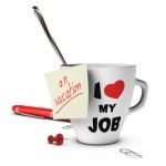 On vacation note glued on a mug. concept image for out of office message