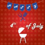 some silhouettes of a grill and a pair of utensils with text and some decoration for independence day