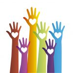 colorful hands with hearts over white background. vector illustration