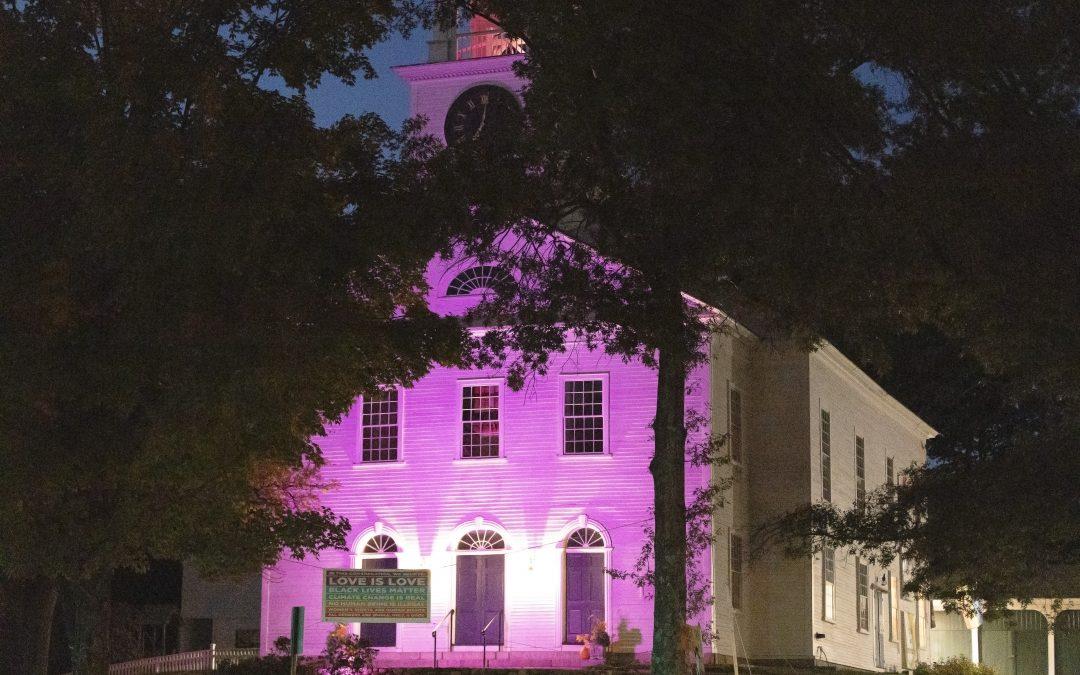 First Parish Lit up in Purple